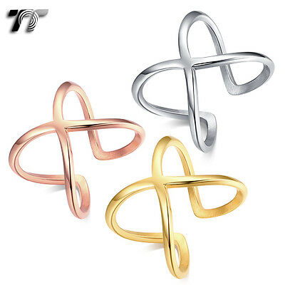 TT Stainless Steel Cross Cuff Band Ring 3 Colours Available (R361) NEW