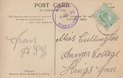NORFOLK:1905 ANMER/KING'S LYNN  rubber single ring cancel in violet on PPC