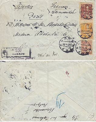 Georgia  1920 Registered  Letter  To  Paris  Rare  Franking!