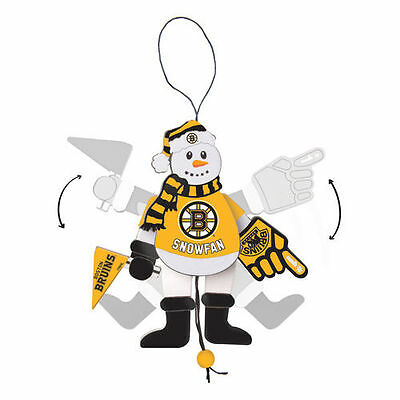 Boston Bruins Wood Cheering Snowman Ornament - NHL