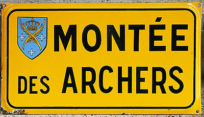 Old French enamel steel street sign plaque Montee des Archers Hill Saint Etienne