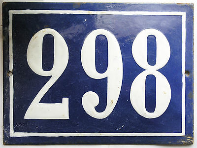 Large old French house number 298 door gate plate plaque enamel steel metal sign