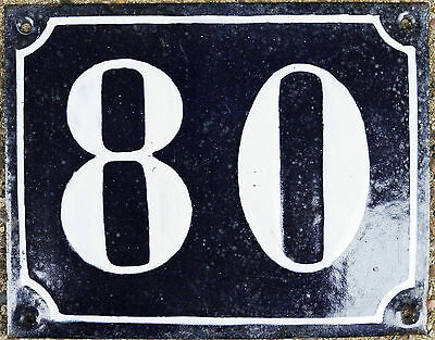 Large old blue French house number 80 door gate plate plaque enamel steel sign