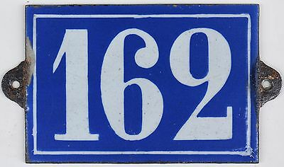 Large C19 French house number 162 door plate plaque enamel cast iron metal sign