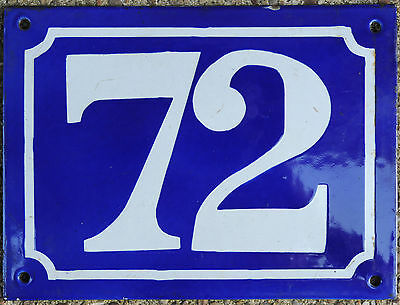 Large old blue French house number 72 door gate plate plaque enamel metal sign
