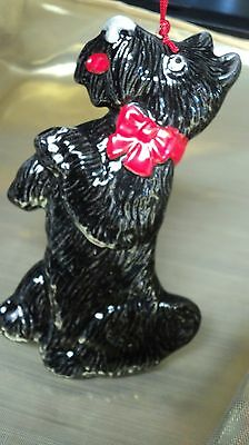 "Scottish Terrier SCOTTIE Ornament 4"" Standing Red Christmas Bow CUTE Adorable"