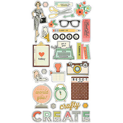 Simple Stories - The Reset Girl -  Chipboard Stickers 6x12 with Gold Accents