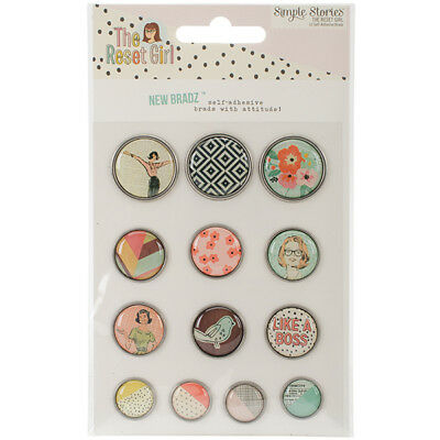 Simple Stories - The Reset Girl -  Self Adhesive Bradz 13 Pack