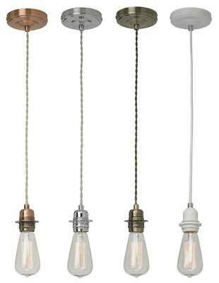 Light Pendant Fitting Ceiling Rose E27 Suspension Set Fabric Corded 4 Colours