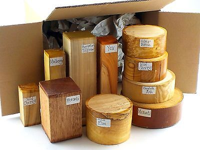 Wood turning blanks gift selection pack.  Box of mixed sizes and species.