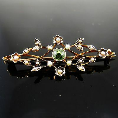Beautiful Antique Edwardian Hallmarked 9ct Gold Peridot & Seed Pearl Brooch