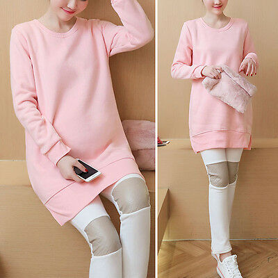 New Pregnant Women Outfits Pink Loose Long Tops Adjustable Over Bump Pants Set