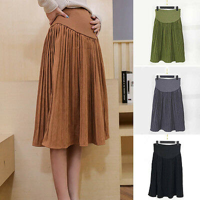 New Pregnant Women Skirt Pleated Solid A-Line Maternity Care Belly Midi Skirts