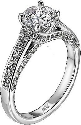 Scott Kay M1214 diamond engagement ring .38tcw 1ct center Paladium sz 6 3/4 NWT