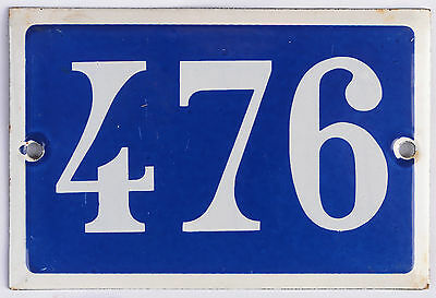 Old blue French house number 476 door gate plate plaque enamel steel metal sign
