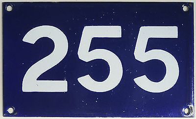 Old Australian used house number 255. door gate enamel metal sign in French blue