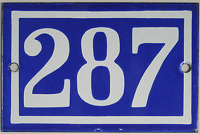 Old blue French house number 287 door gate plate plaque enamel steel metal sign