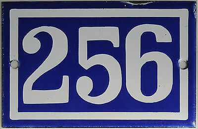 Old blue French house number 256 door gate plate plaque enamel steel metal sign