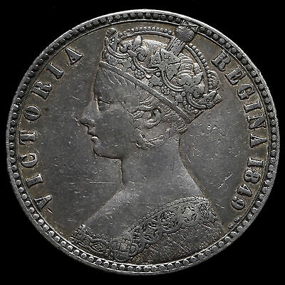 1849 Queen Victoria Godless Florin – VF