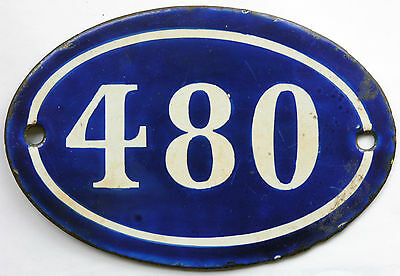Old blue French house number 480 door gate plate plaque enamel steel metal sign