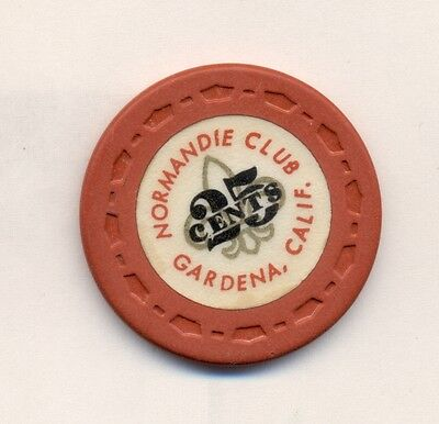 $.25  Normandie  Club  Casino Poker  Chip---Rare Knife, Fork Spoon !  Ca