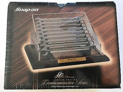 Snap On Tools 80th Anniversary Wrench Spanner Set And Display Case, GOLD INLAY!