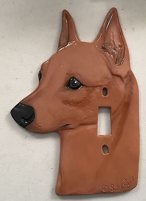 Vintage Ceramic RED Miniature Pinscher dog Light Switch Cover 1989