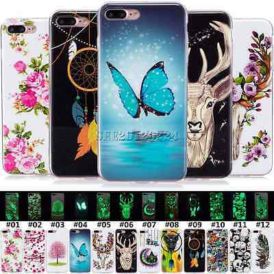 For Huawei Apple Phone Silicone TPU Gel Soft Skin Back Retro Luminous Case Cover
