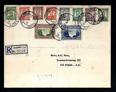 14436-SOUTHERN RHODESIA-REGISTERED COVER SALISBURY to SOUTH AFRICA.1951.BRITISH