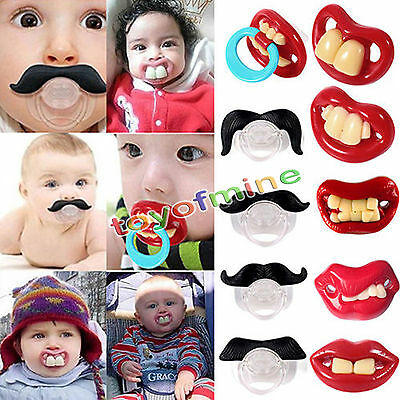 Novelty Baby Funny Moustache Dummy Dummies Child Soother Pacifier Maternity Joke