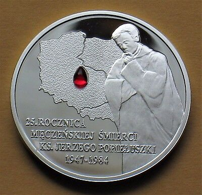 SILVER COMMEMORATIVE 10 ZLOTY COIN OF POLAND - MORTYRDOM OF JERZY POPIELUSZKO Ag