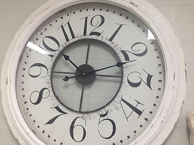 79cm LARGE NUMERALS WALL CLOCK white distressed timber encased French shabby