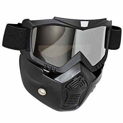 Silver Lens Motorcycle Riding Protective Helmet Face Mask Goggles Shield New