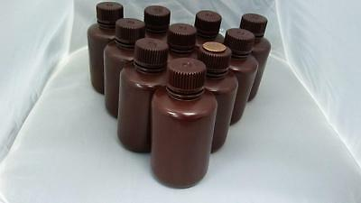 10 small plastic brown bottles with screw caps, 125 ml, 4 oz