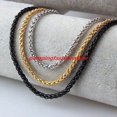 "3/4/5/6/7mm 7-40"" Stainless Steel Silver Gold Black Wheat Braided Chain Necklace"