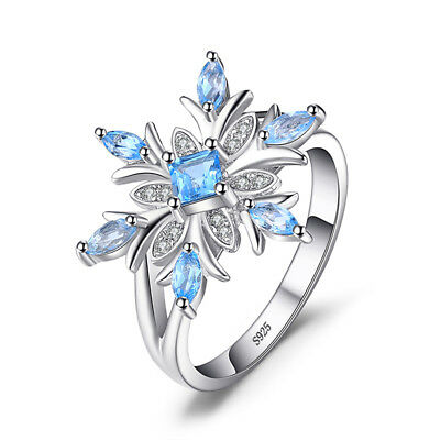 JewelryPalace Snowflake Genuine Swiss Blue Topaz Ring Solid 925 Sterling Silver