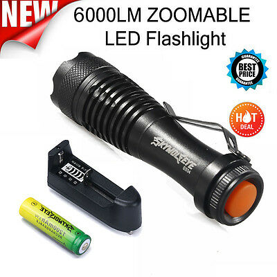 Zoom CREE Q5 6000LM Mini LED Flashlight Focus Torch Light+14500 Battery+Charger