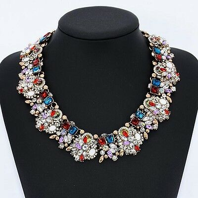 Charm Jewelry Crystal Rhinestone Chunky Statement Bib Pendant Choker Necklace