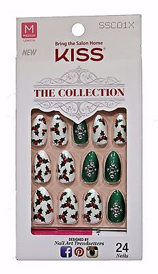KISS 24 Glue/Press-On Nails WIND CHILL The Collection MISTLETOE Holiday STILETTO