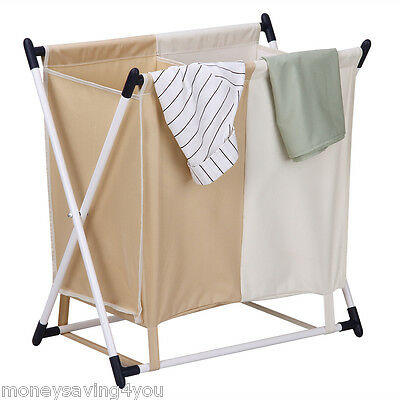 Fold Laundry Sorter Hamper Stand with 2-Compartment Detachable Bag for Clothes