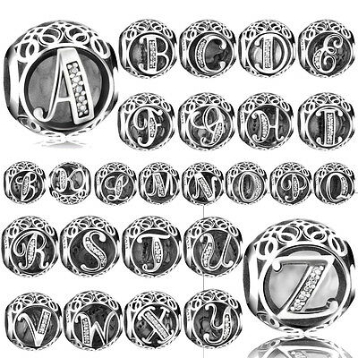 European 26 Letters Silver CZ Charm Beads Fit Sterling 925 Bracelet Chain Bangle