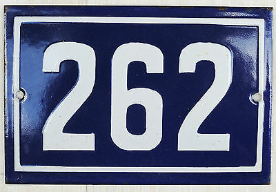 Old French house number 262 door gate plate plaque enamel steel metal sign