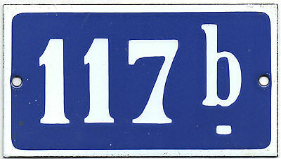 Old blue French house number 117 B door gate plate plaque enamel steel sign