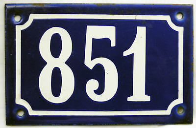 Old blue French house number 851 door gate plate plaque enamel steel metal sign