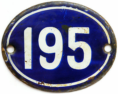 Old blue French house number 195 door gate plate plaque enamel steel metal sign