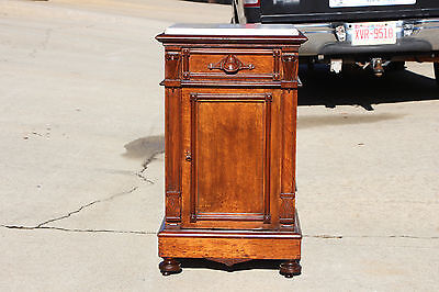 Fine Victorian Renaissance Revival Marble Top Half Commode NightStand  ~Ca.1870