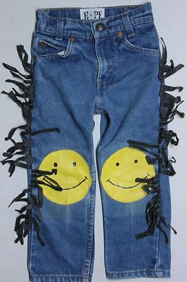 Vintage Little Levis Smiley Face Patch Fringed Cowboy Hippie Denim Jeans Kids 2