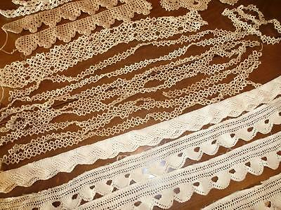 HUGE LOT Antique Vintage Handmade TATTED Crocheted Knit LACE Trim Edging LOT