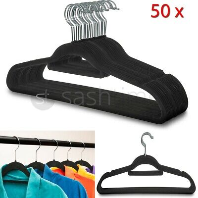 Non Slip Flocked Coat Clothes Hangers Velvet Trouser Hanging Space Saving