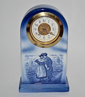 Vtg Ceramic Blue Delft Dutch Boy/Girl Seashore W/Ship Table/Mantle Clock Germany